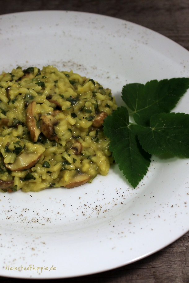 Risotto mit Giersch und Champignons
