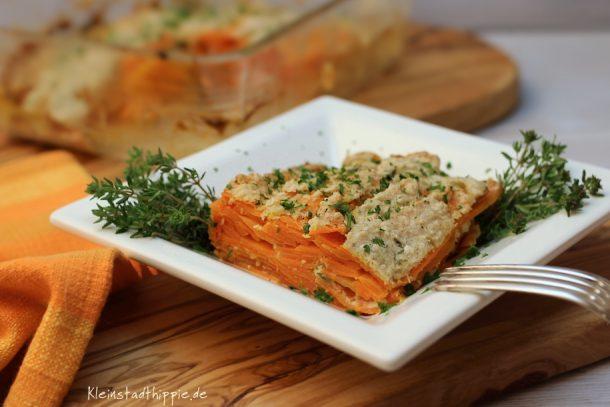 Karottengratin mit frischen Kräutern
