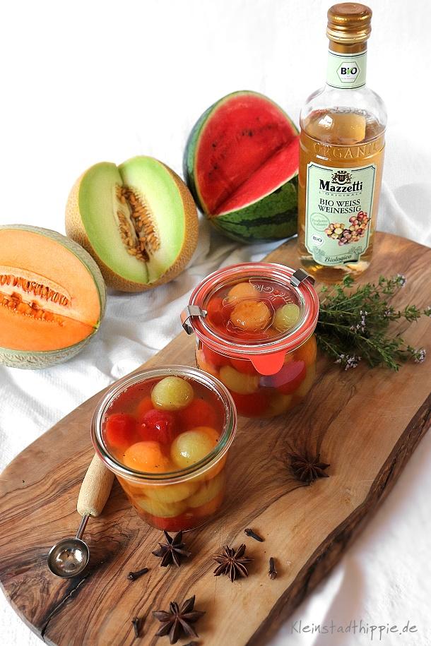 Galia-, Cantaloupe. und Wassermelone in Bio Weissweinessig von Mazzetti