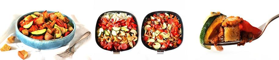 Lauwarmer Brotsalat mit Ofengemüse aus dem Airfryer