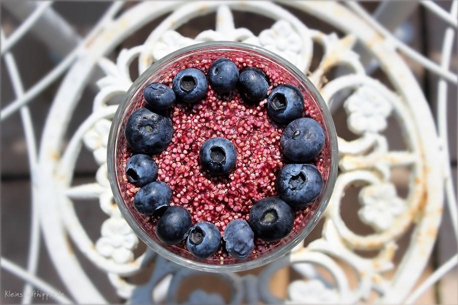 Powerfrühstück-Heidelbeere mit proteinreichem Amaranth, Chiapudding und knusprigen Dinkelflakes. Dazu fruchtigerHeidelbeersirup und frische Heidelbeeren.