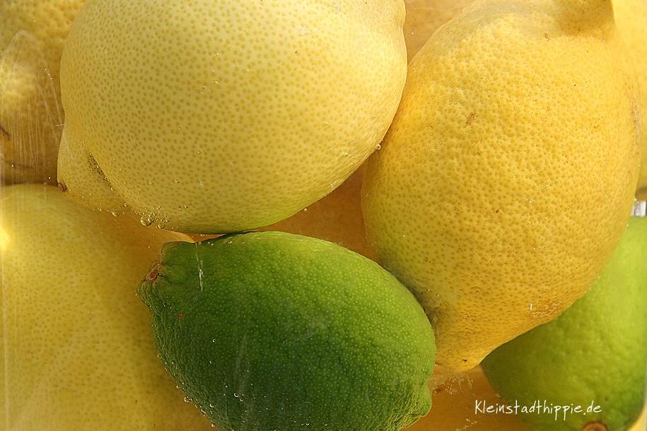 Zitronen im Wasserglas frisch halten