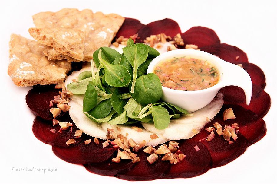 Rote Bete Carpaccio - vegane Rezepte von Kleinstadthippie - Salate - Vinaigrette