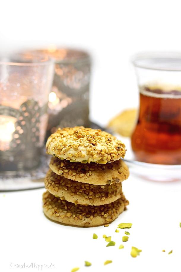 Rezept für Barazek - arabische Sesamkekse - Barazek vegan
