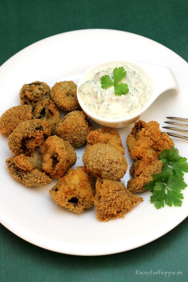 Gebackene Champignons mit Remouladensauce - Vegane Hauptgerichte