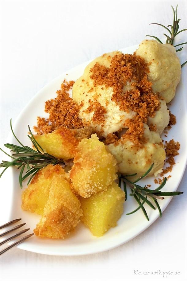 Veganer Überbackener Blumenkohl mit Knusperofenkartoffeln
