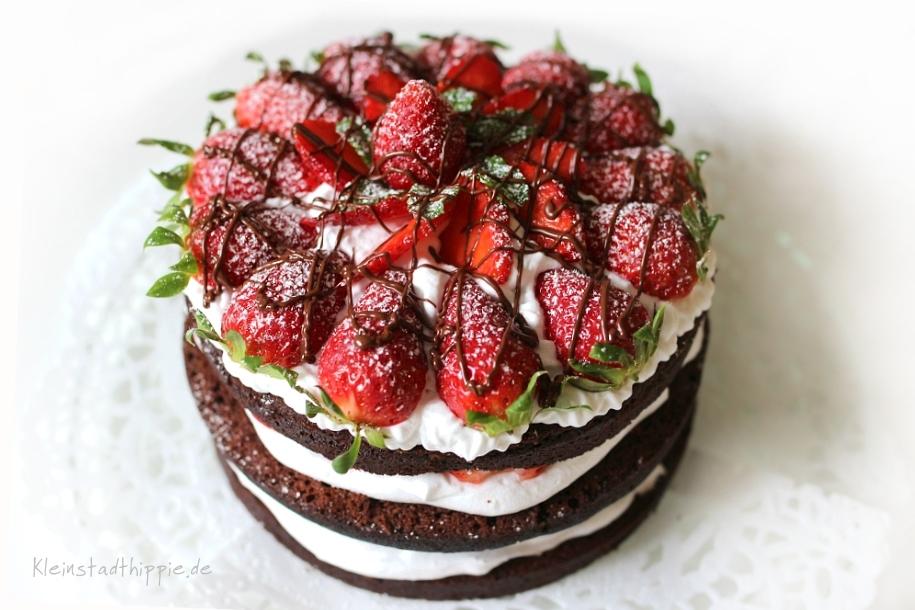 Erdbeerschokotorte vegan Naked Cake