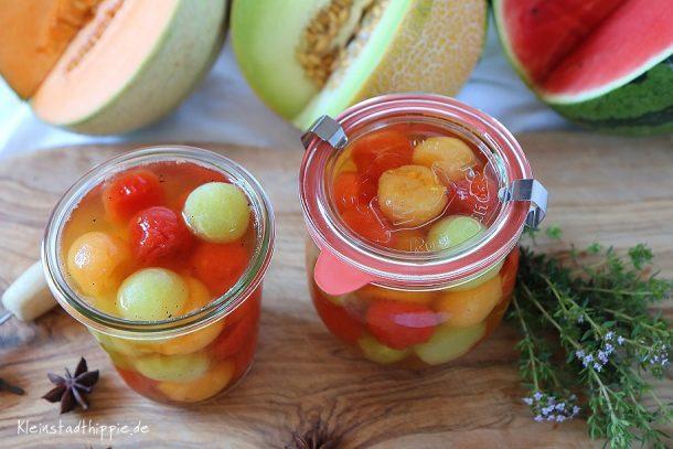 Dreierlei Melonen süßsauer eingelegt