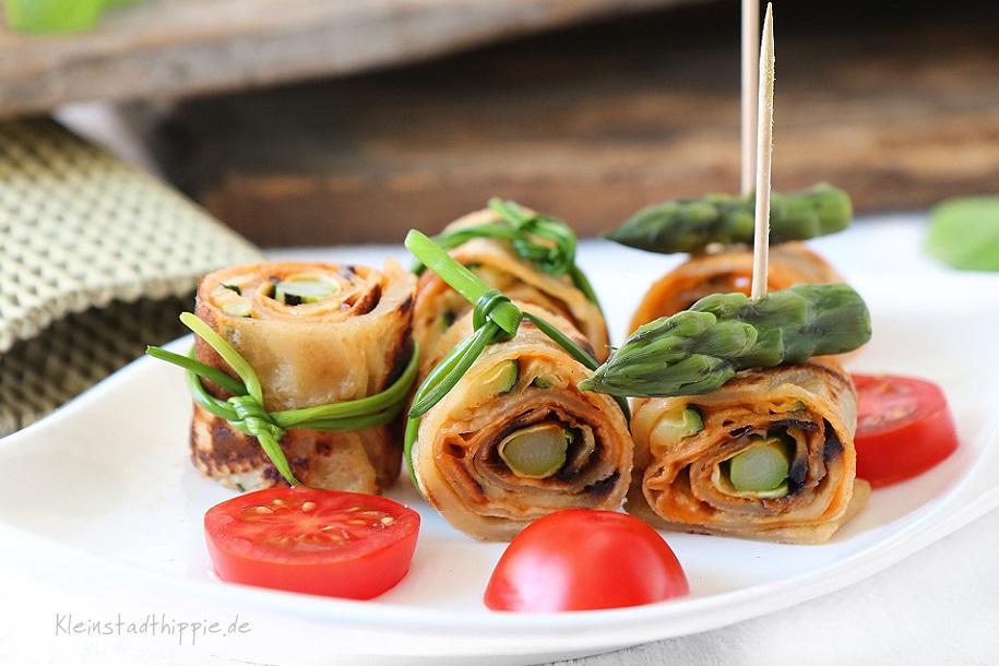 Pfannkuchenröllchen - leckeres, veganes Fingerfood