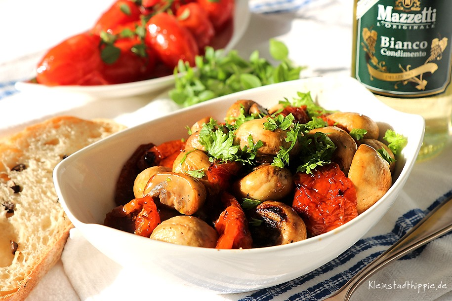 Gebratene Champignons mit Mazzetti Bainco Condimento