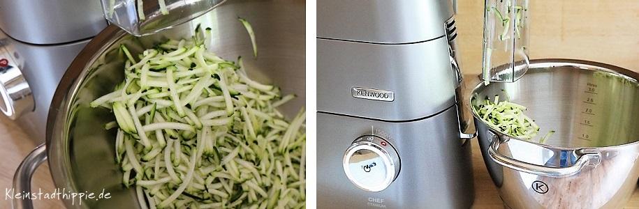 Zucchini mit der Küchenmaschine gerieben