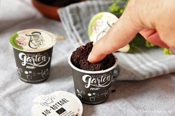 Samen leicht in den Boden drücken