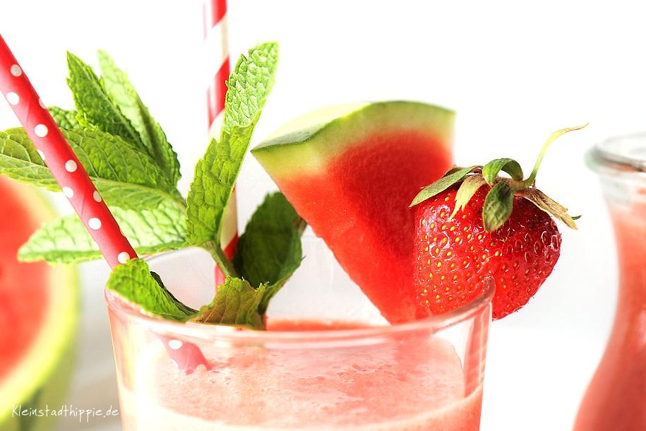 Wassermelonensmoothie - Wassermelonen - Erdbeeren - Rezept mit Erdbeeren