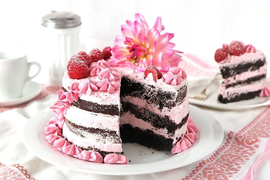 Vegane Himbeerschokotorte Naked Cake
