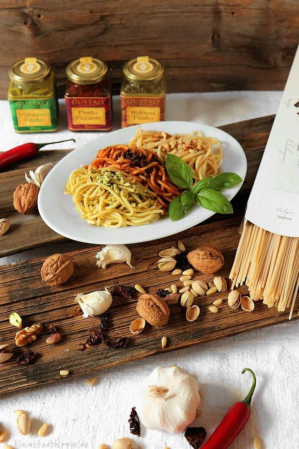 Dreierlei Pestos Delikatessen von Gustao vegan und bio