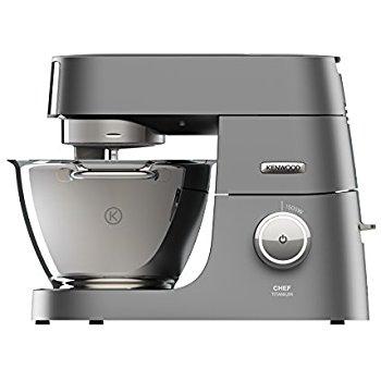 Kenwood Chef Titanium KVC7320S Küchenmaschine, 1.500 W, 4,6 l Füllmenge, 5-teiliges Patisserie-Set, 1,6 l ThermoResist Glas-Mixaufsatz, Rührschüssel-Innenbeleuchtung