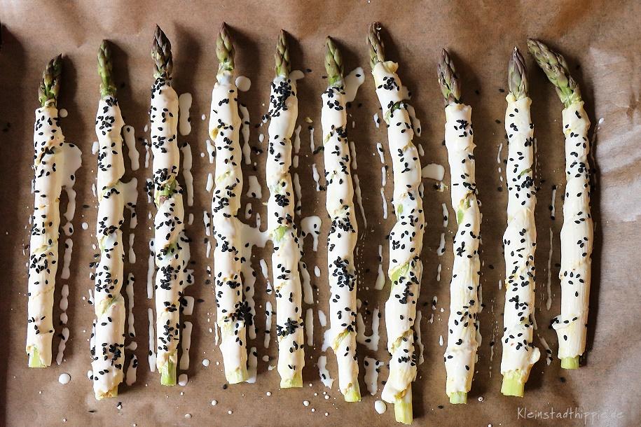 Grüner Spargel in Blätterteig vegan - orientalisch gewürzt