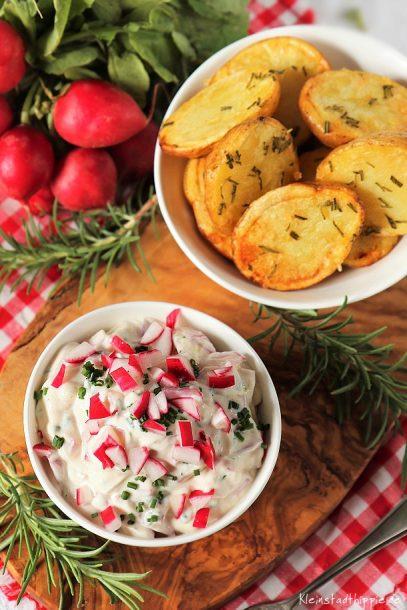 Rosmarinkartoffeln mit Radieschenquark - Gerichte für den kleinen Geldbeutel