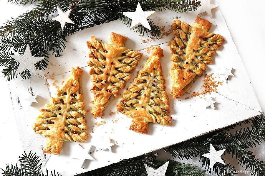 Rezept für Pesto-Weihnachtsbäumchen - Pestoweihnachtsbaum - Pestobaum - Pestoblume