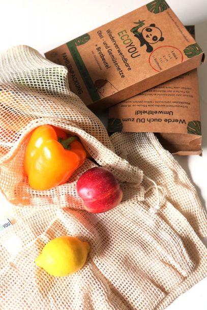 Stoffnetze für den Obst- und Gemüseeinkauf