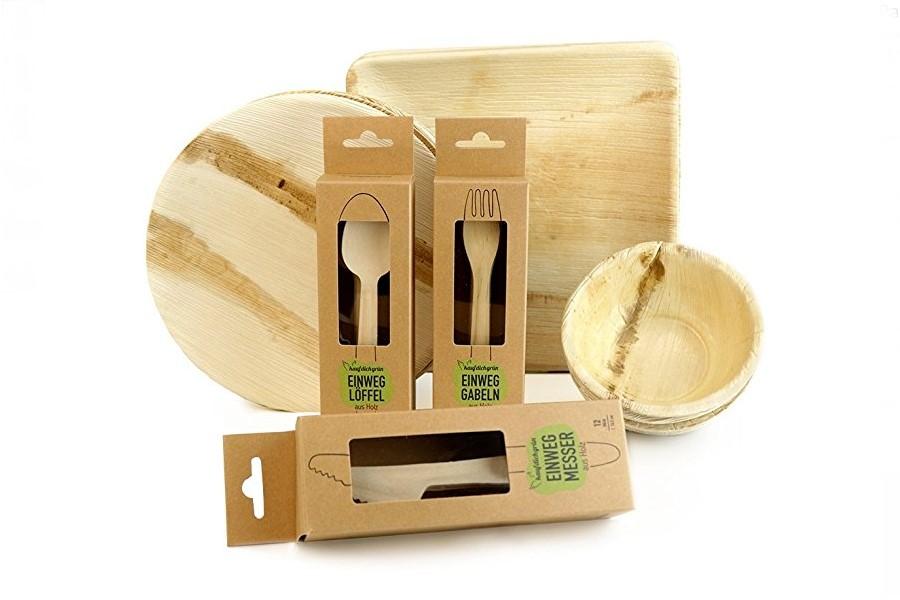Party-Geschirr-Set I Palmblatt Einweggeschirr & Besteck aus Holz - Plastikfrei einkaufen