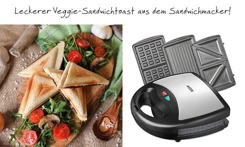 Sandwichmaker: Veggie Sandwich Toast mit Spinatfüllung und Champignons