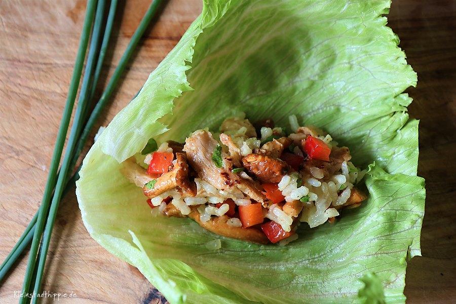 Veganer Reissalat mit Pfifferlingen