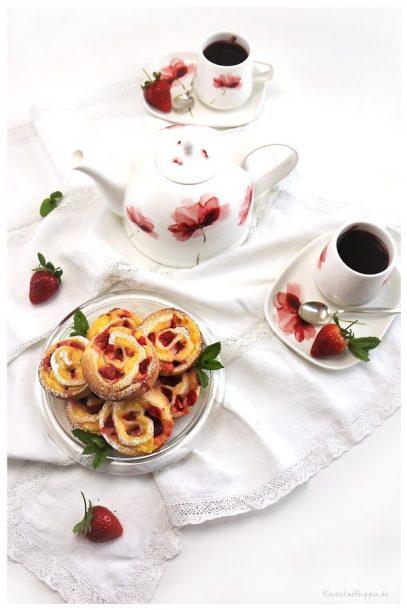 Vanilleerdbeerschnecken Erdbeervanilleschnecken