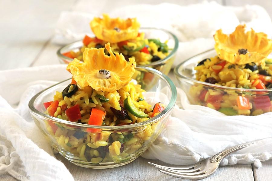 Bunter Reissalat mit Aanasblüten - vegan - vegane Rezepte