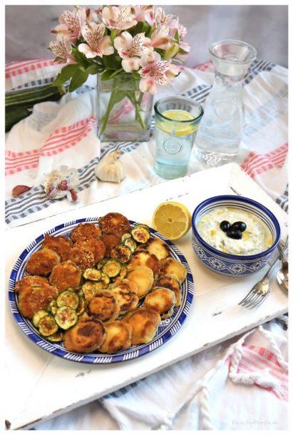 Zucchini-Dreierlei mit veganem Tsatsiki