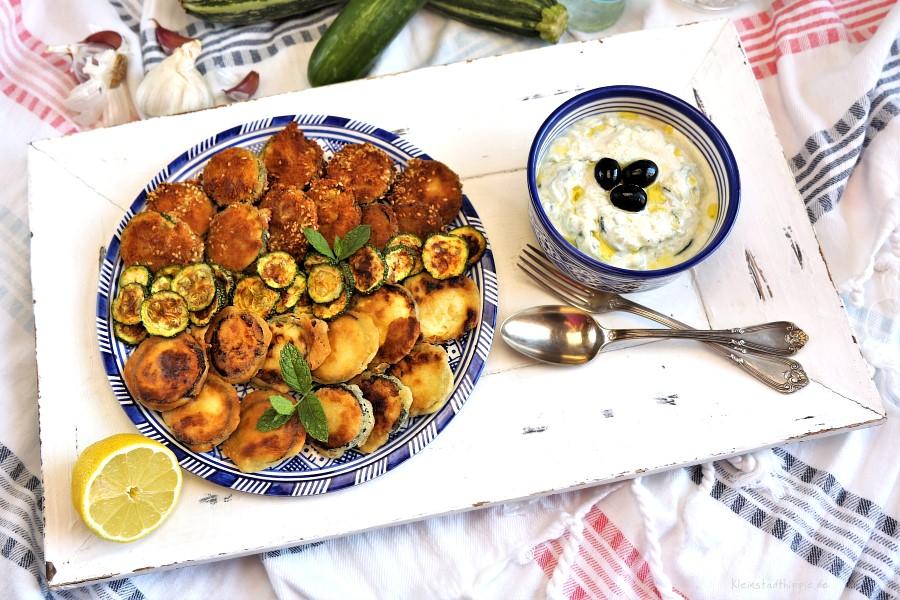 Zucchini-Dreierlei mit Tsatsiki