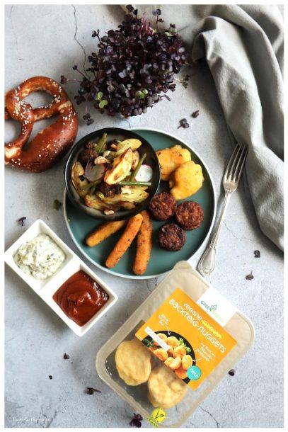 Green Legend vegane Fleisch Mini-Frikadellen, vegane Hähnchen Mini-Schnitzel, vegane Chicken Backteig-Nuggets, vegane Chicken Sticks, vegane Fisch Stäbchen und vegane Fisch Backteig-Nuggets