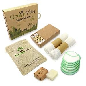 Nachhaltiges Make-Up Entferner Set: Waschbare Bambus Abschminkpads Wattepads, Waschlappen-Abschminktücher, Bio-Seife, Wattestäbchen, Leinenbeutel, Plastikfrei und Umweltfreundlich