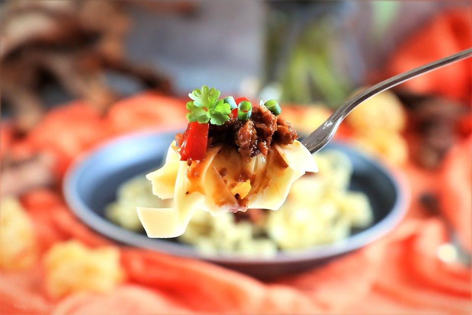 Schnelle Küche: Veganes Haschee  mit Bandnudeln
