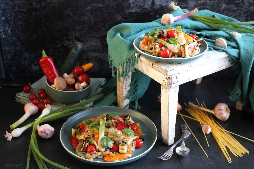 Vegane Pastagerichte - veganes Nudelgericht - Rezept für Spaghetti mit Gemüse